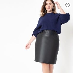 Eloquii Black Faux Leather Skirt Size 22
